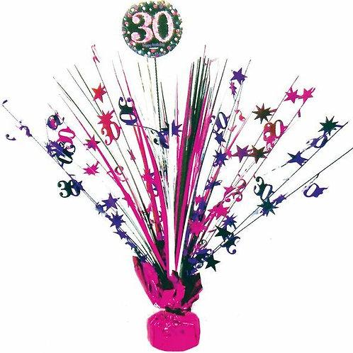 Centerpiece/Tischdeko zum 30. Geburtstag in pink/schwarz