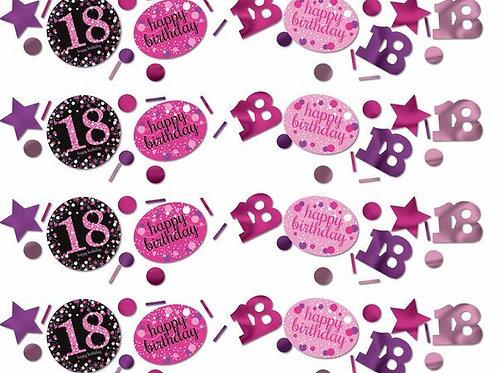 Tischkonfetti zum 18. Geburtstag in pink/schwarz