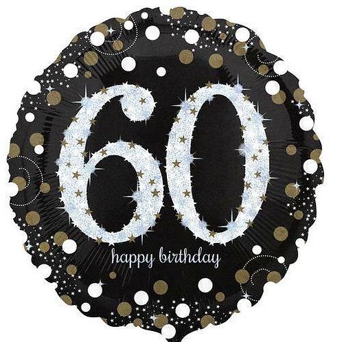 "Folienballon Birthday ""60"" glitzernd gold/silber/schwarz"