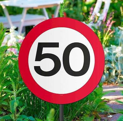 """Gartenstecker Verkehrsschild """"50"""""""
