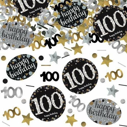 Tischkonfetti zum 100. Geburtstag in gold/silber/schwarz