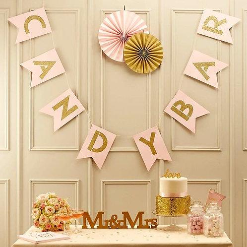 """Girlande """"Candy Bar"""", rosa/gold"""