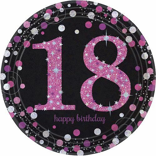 "Teller ""Happy Birthday 18"" in pink/schwarz"