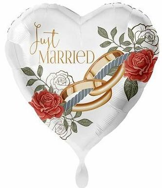 "Folienballon ""Just married"" mit Ringen"