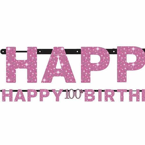 Girlande zum 100. Geburtstag in pink/schwarz