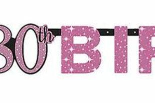 Girlande zum 80. Geburtstag in pink/schwarz