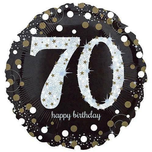 "Folienballon Birthday ""70"" glitzernd gold/silber/schwarz"