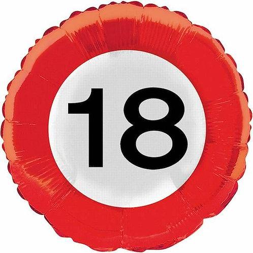 """Folienballon: Verkehrsschild """"18"""""""