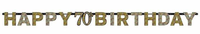 Girlande zum 70. Geburtstag in gold/silber/schwarz