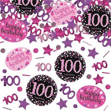Tischkonfetti zum 100. Geburtstag in pink/schwarz