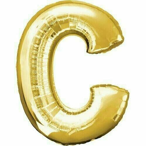 """Kleiner Buchstabe """"C"""" - gold, zum selbst aufblasen (Luft)"""