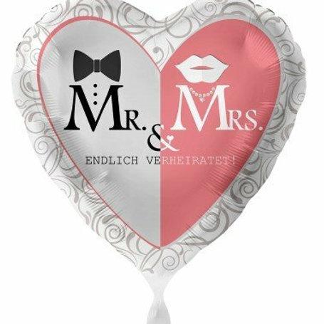 "Folienherz ""Mr. & Mrs."""