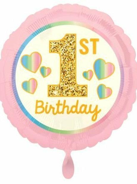Folienballon Erster Geburtstag rosa gold