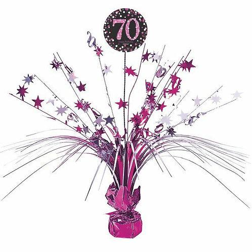 Centerpiece/Tischdeko zum 70. Geburtstag in pink/schwarz