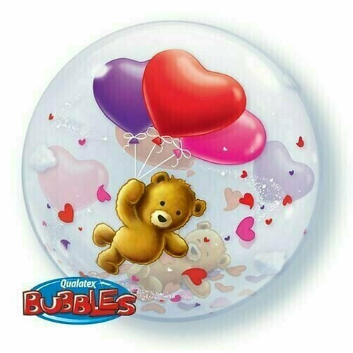 "Bubble Ballon ""Teddy mit Herzballons"""