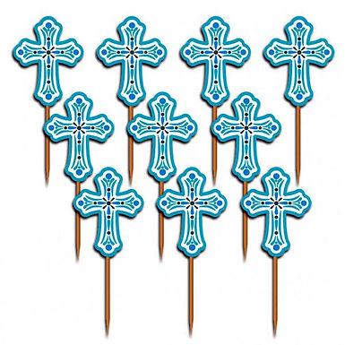 Cupcake-Dekoration Kreuz, blau