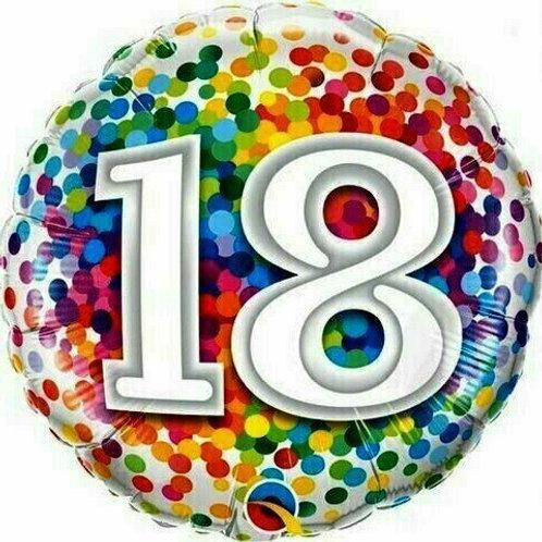 """Birthday """"18"""" Regenbogen-Punkte"""
