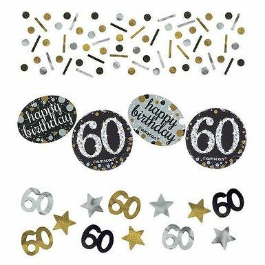 Tischkonfetti zum 60. Geburtstag in gold/silber/schwarz
