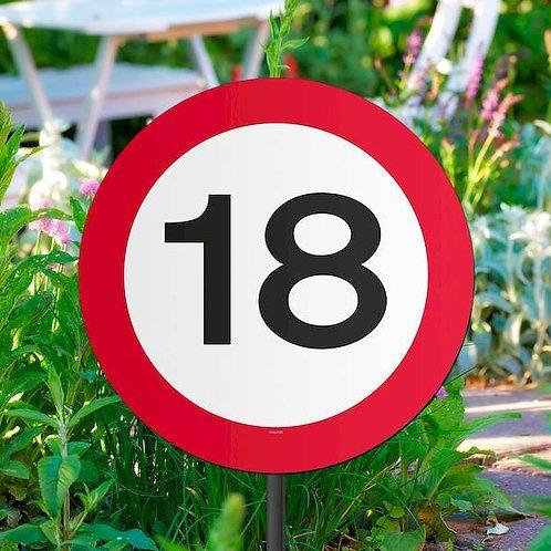 """Gartenstecker  Verkehrsschild """"18"""""""