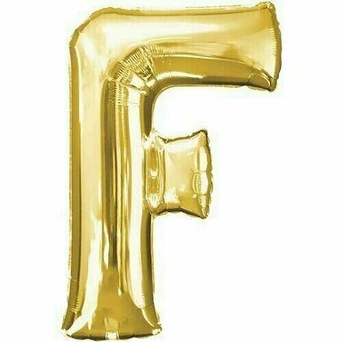 """Kleiner Buchstabe """"F"""" - gold, zum selbst aufblasen (Luft)"""