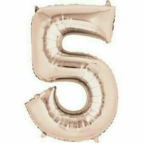 """Kleine Zahl """"5"""" - roségold, zum selbst aufblasen (Luft)"""