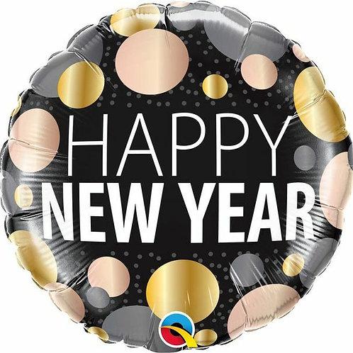 "Folienballon ""Happy New Year Punkte"""