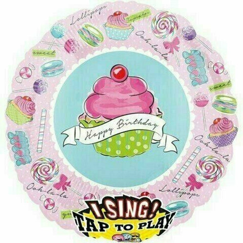 "Musikballon ""Happy Birthday Rosa CupCake"""