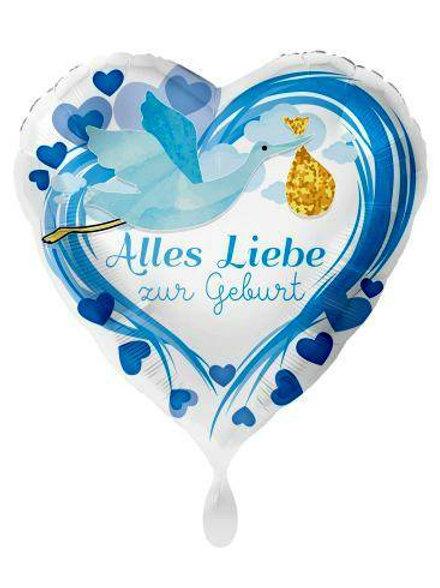 Folienballon Alles Liebe zur Geburt blau