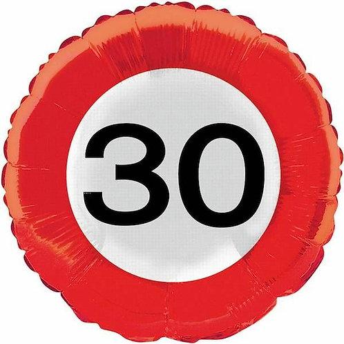 """Folienballon: Verkehrsschild """"30"""""""