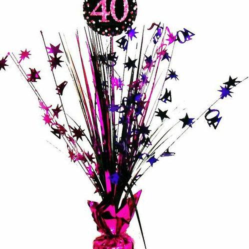 Centerpiece/Tischdeko zum 40. Geburtstag in pink/schwarz