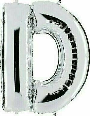 """Kleiner Buchstabe """"D"""" - silber, zum selbst aufblasen (Luft)"""