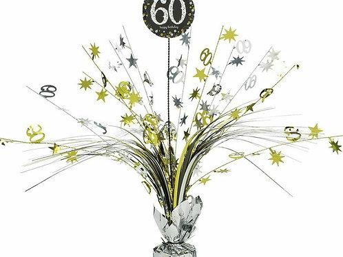 Centerpiece/Tischdeko zum 60. Geburtstag in gold/silber/schwarz