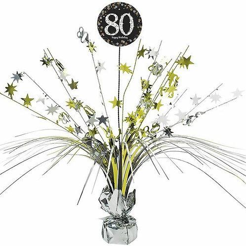 Centerpiece/Tischdeko zum 80. Geburtstag in gold/silber/schwarz