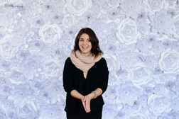 White Shimmer Paper Flower Backdrop