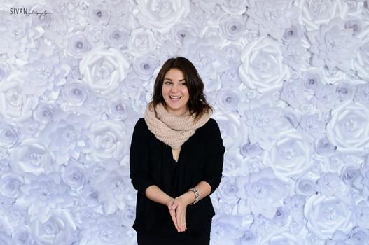 White Shimmer Paper Flower Backdrop