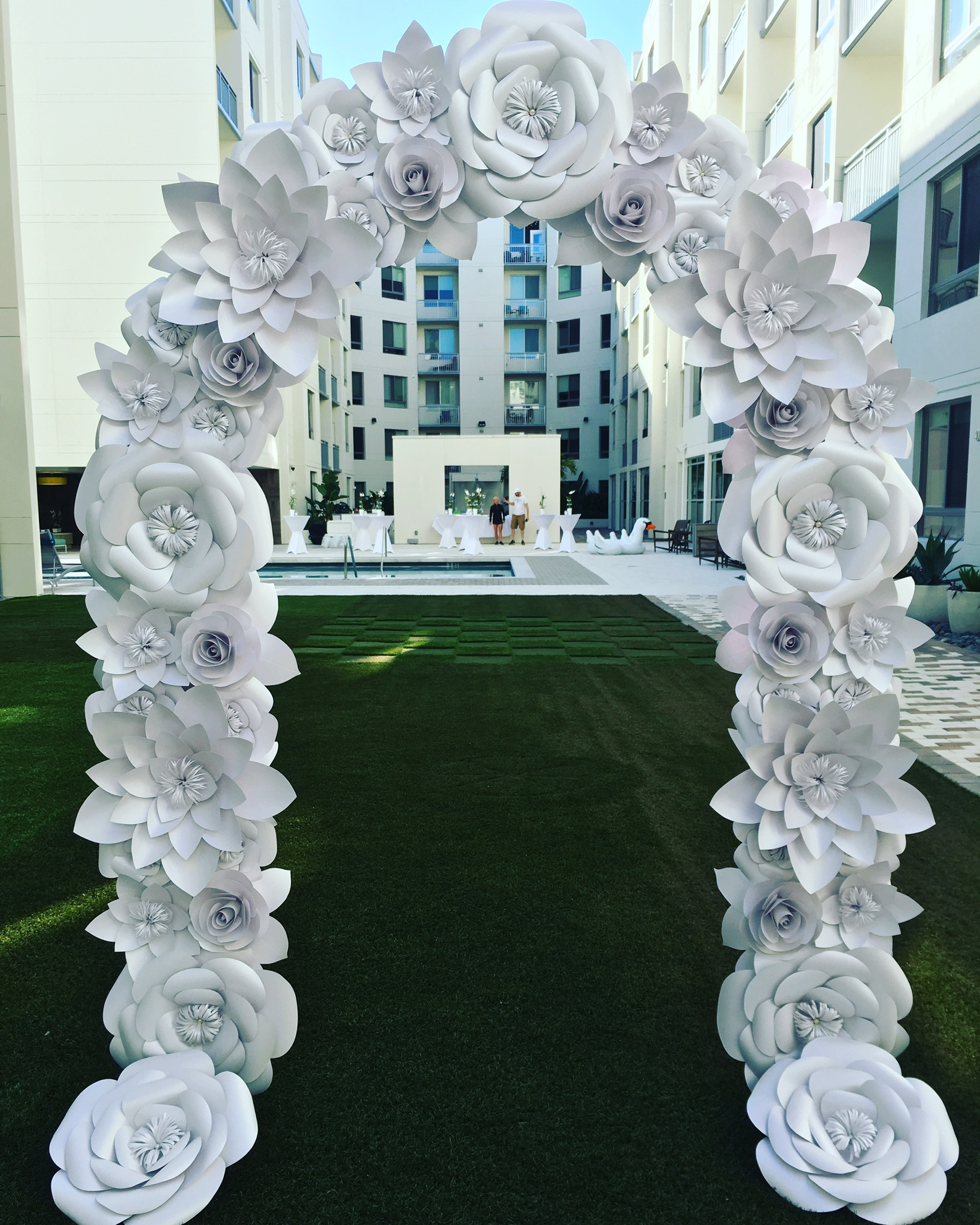 White Paper Flower Ceremony Arch