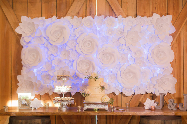 Cake Table or Sweets Table Backdrop - Paper Flower Backdrop