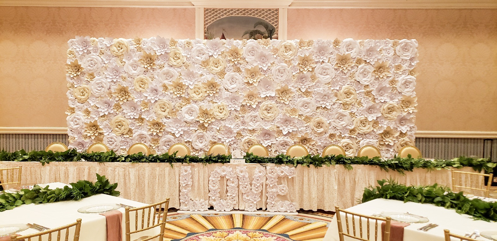 24' long paper flower wall