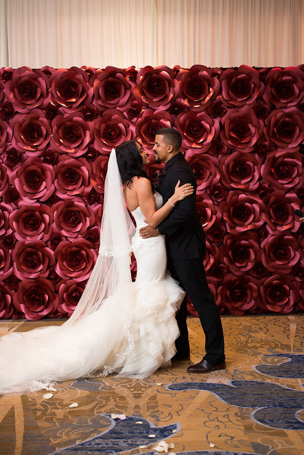Wedding Ceremony Backdrop - Red Rose Paper Flower