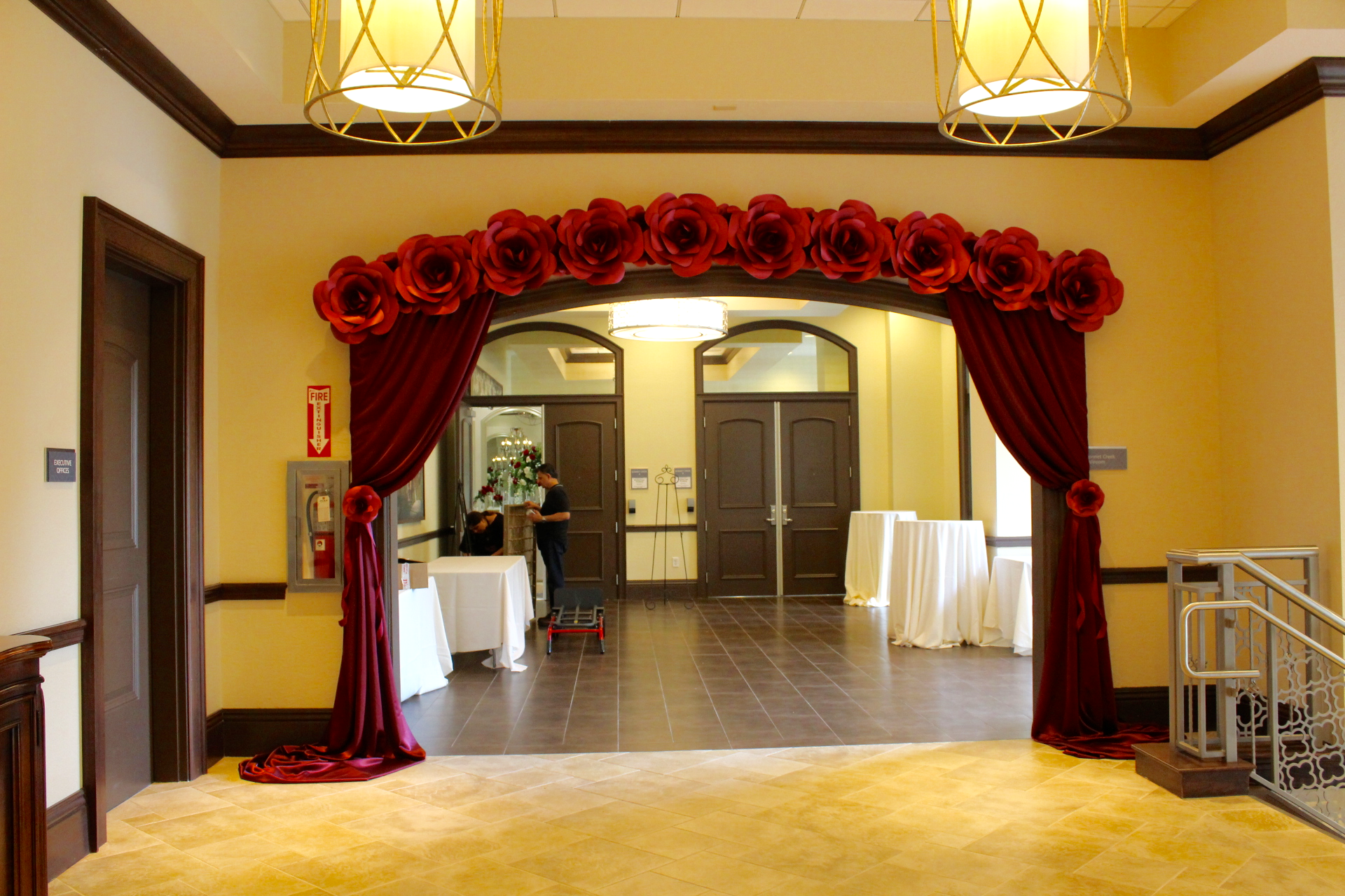 Red Rose Paper Flower Wedding Arch