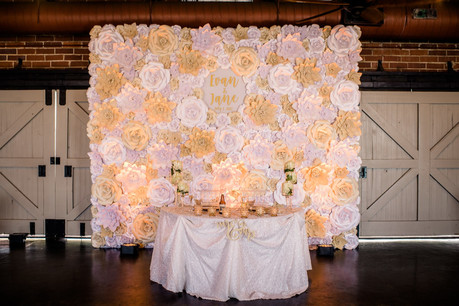 Champagne & Shimmer Paper Flower Wall behind Sweetheart table - Orlando Wedding