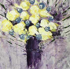 Yellow flowers, purple vase