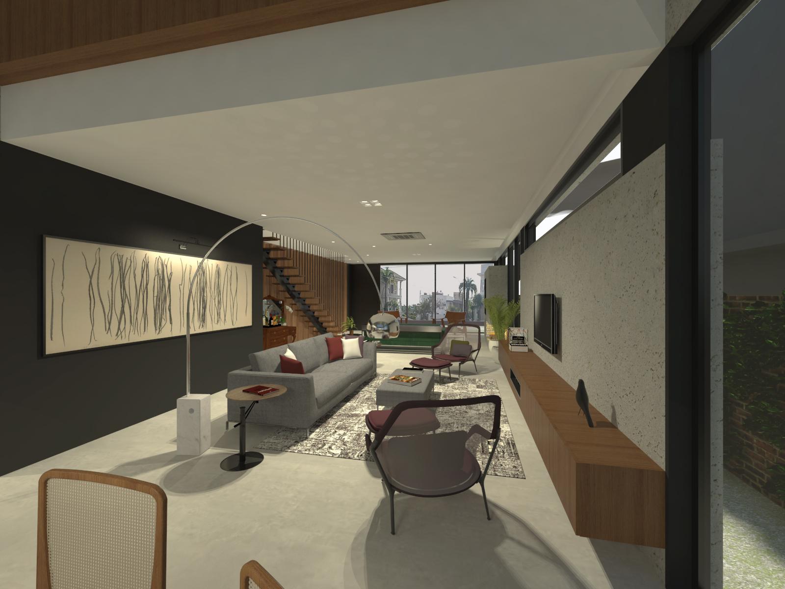 casa coracini | sala de estar e jantar