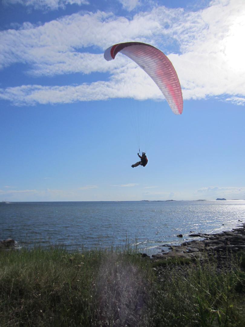 Paraglider off of Suomenlinna Island, Helsinki, Finland