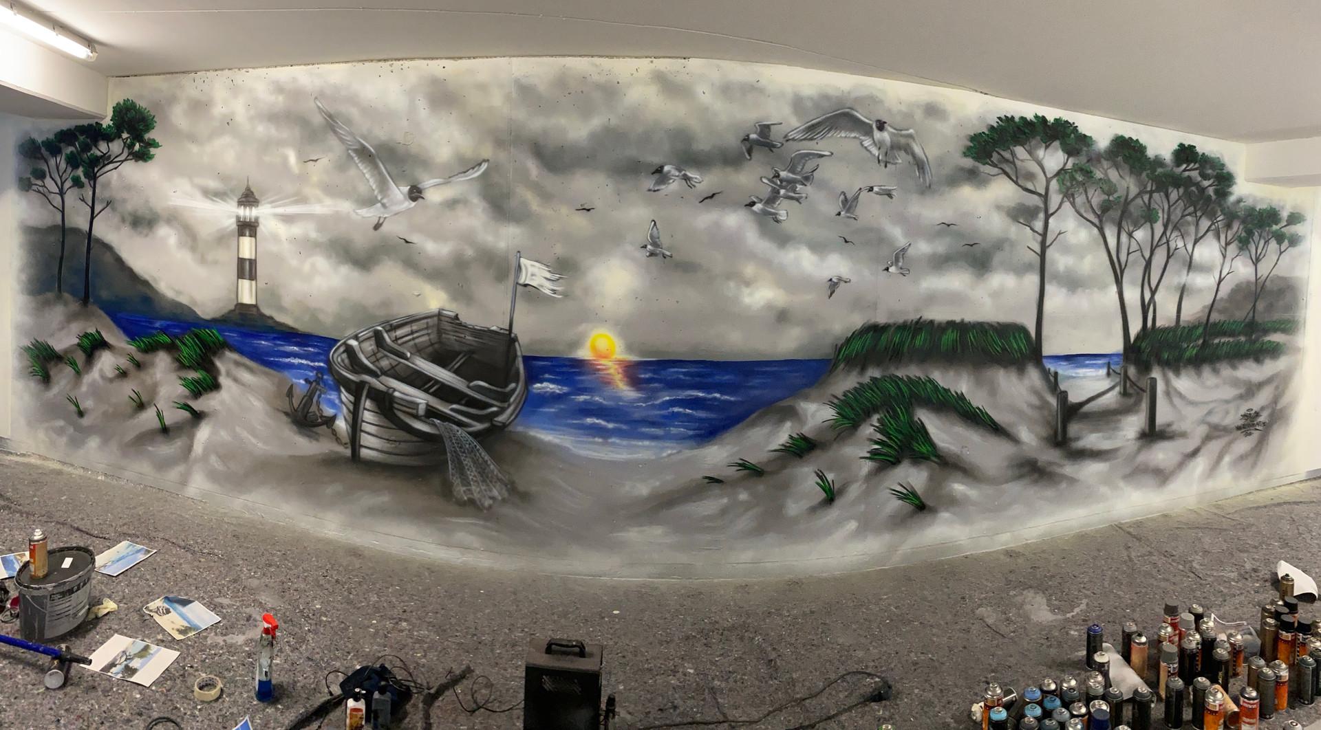 Wandgestaltung Landschaft Graffiti