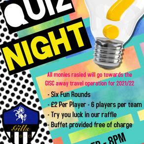 Quiz Night - 18th October 2021 - 8pm