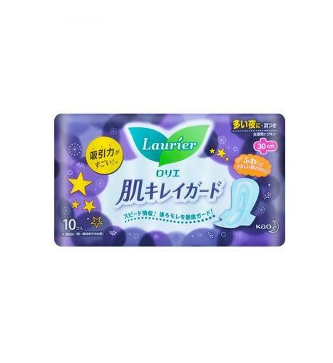 日本KAO花王 LAURIER有翼全棉卫生巾 夜用型 30cm 10片入
