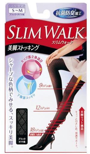日本 Slim walk 新款丝翎舒适塑形美腿钻石花纹美腿丝袜
