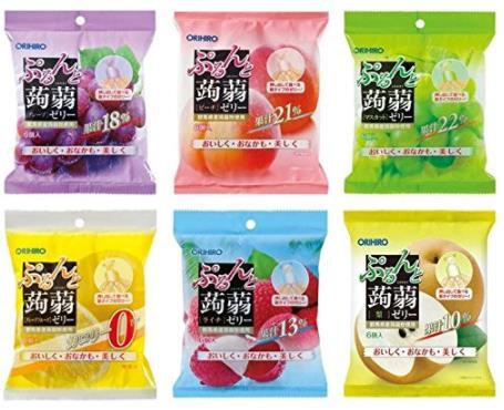 日本ORIHIRO立喜乐 可吸蒟蒻果汁果冻 低卡高纤美味布丁 20g*6袋*6包