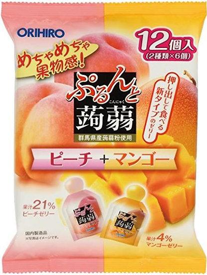 日本ORIHIRO立喜乐 可吸蒟蒻果汁果冻 低卡高纤美味布丁 二合一口味双拼 20g*12袋*6包